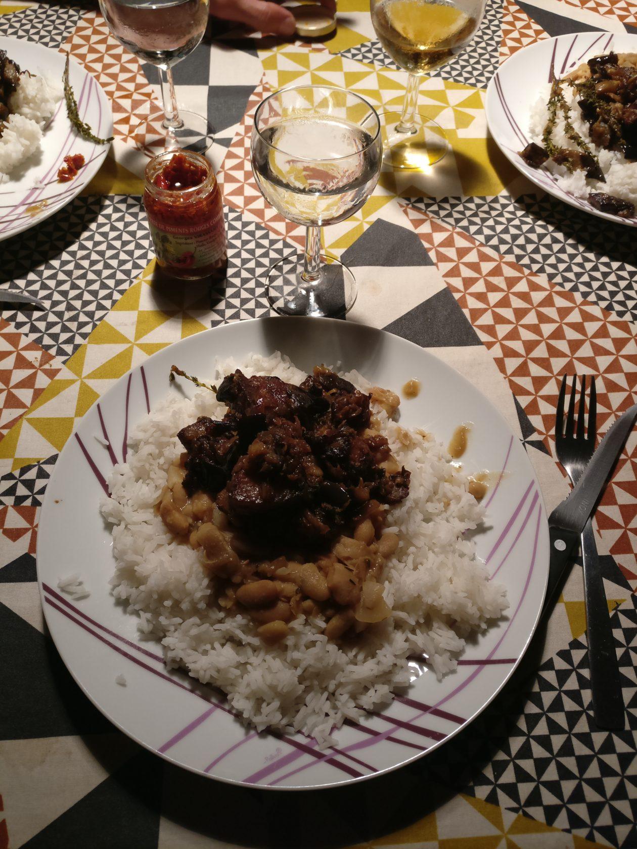 Boucané brinzèl (porc fumé aux aubergines)
